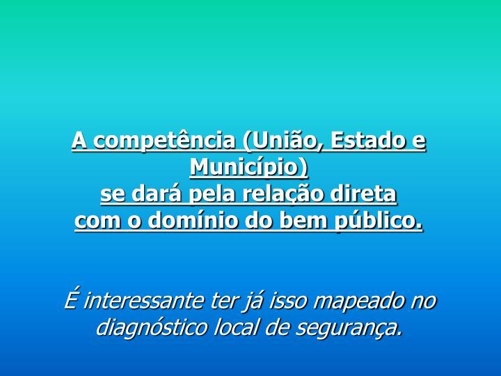 A competência (União, Estado e Município)
