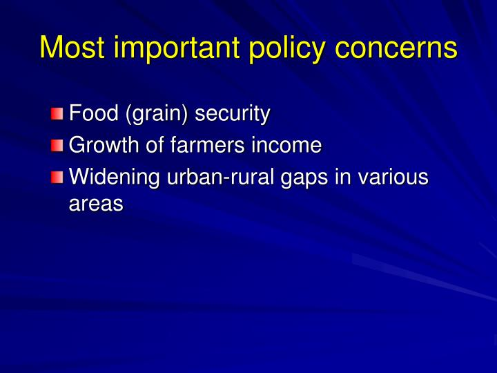 Most important policy concerns