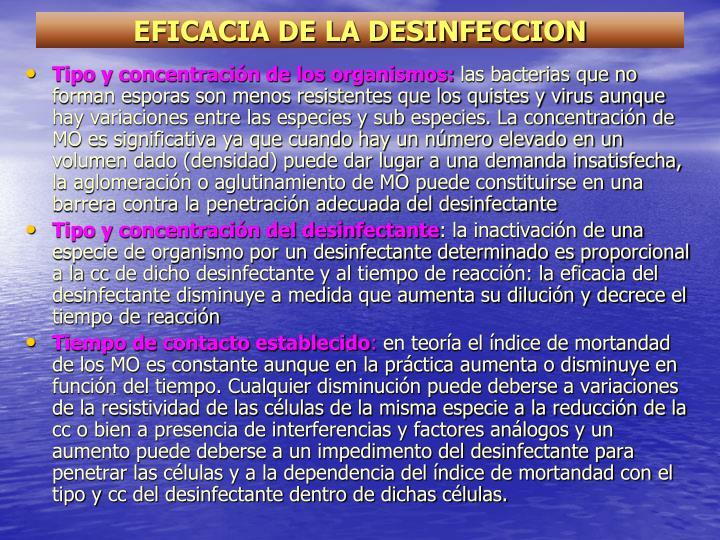 EFICACIA DE LA DESINFECCION
