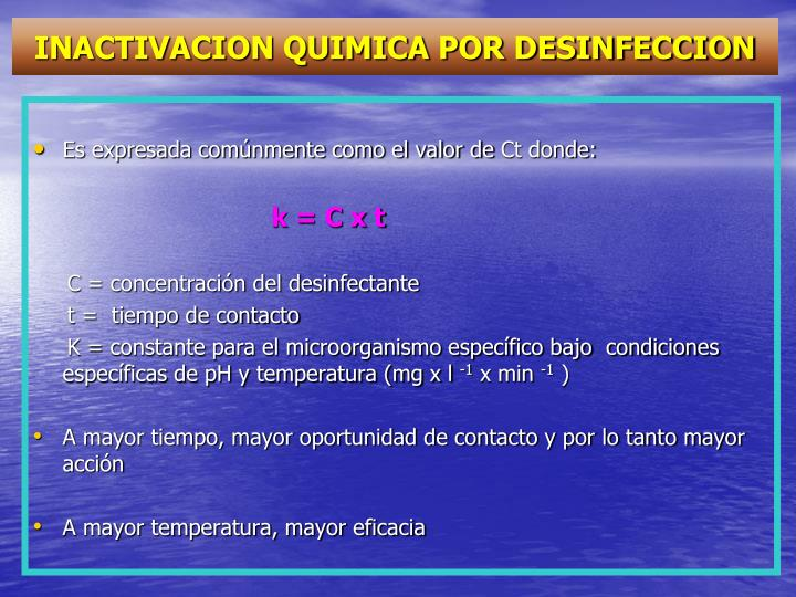 INACTIVACION QUIMICA POR DESINFECCION