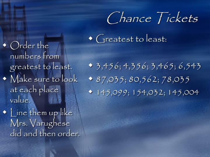 Chance Tickets