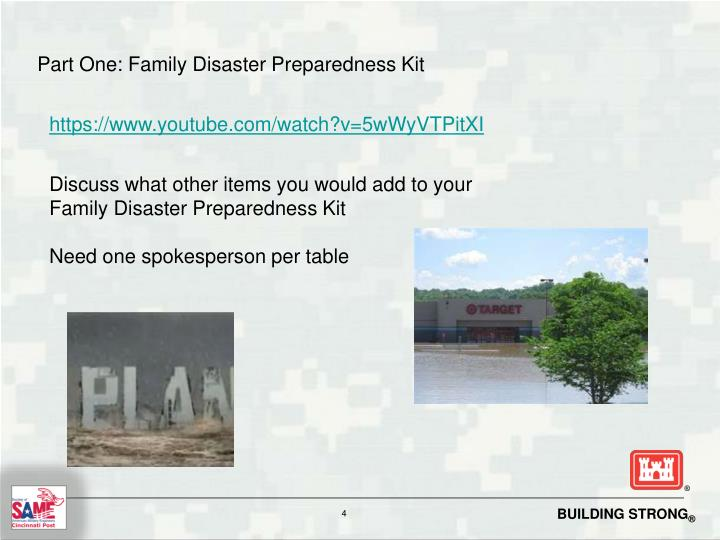 Part One: Family Disaster Preparedness Kit