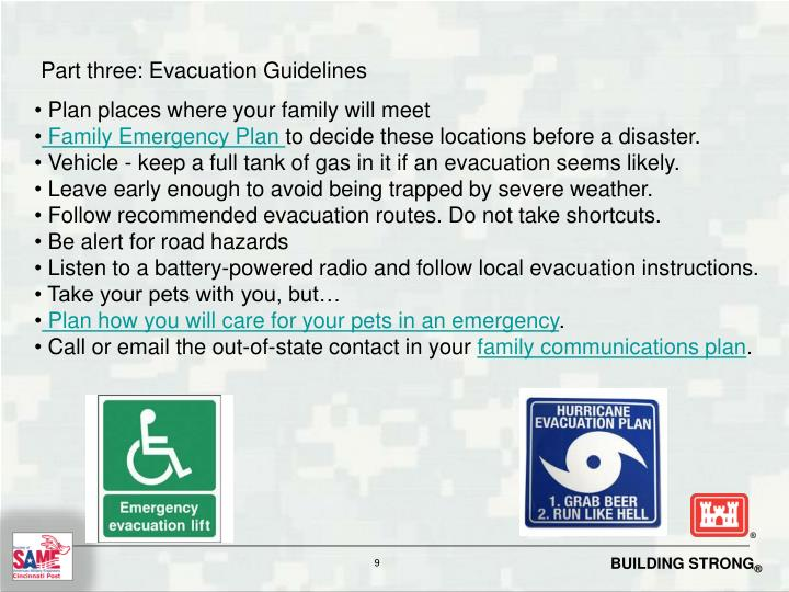 Part three: Evacuation Guidelines