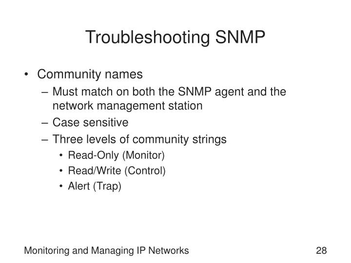 Troubleshooting SNMP