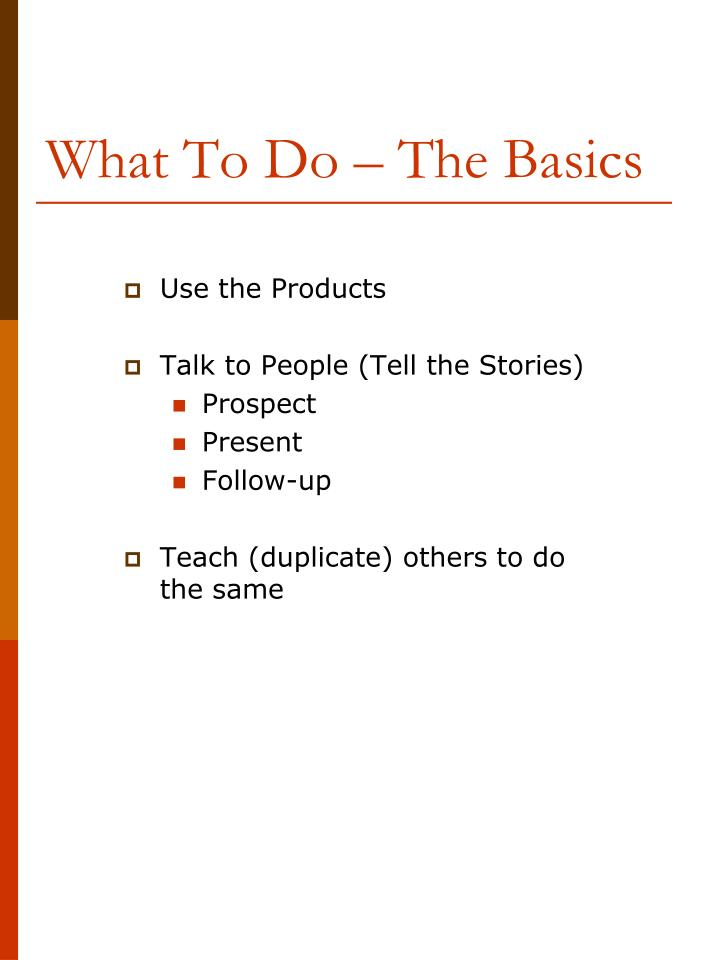 What To Do – The Basics