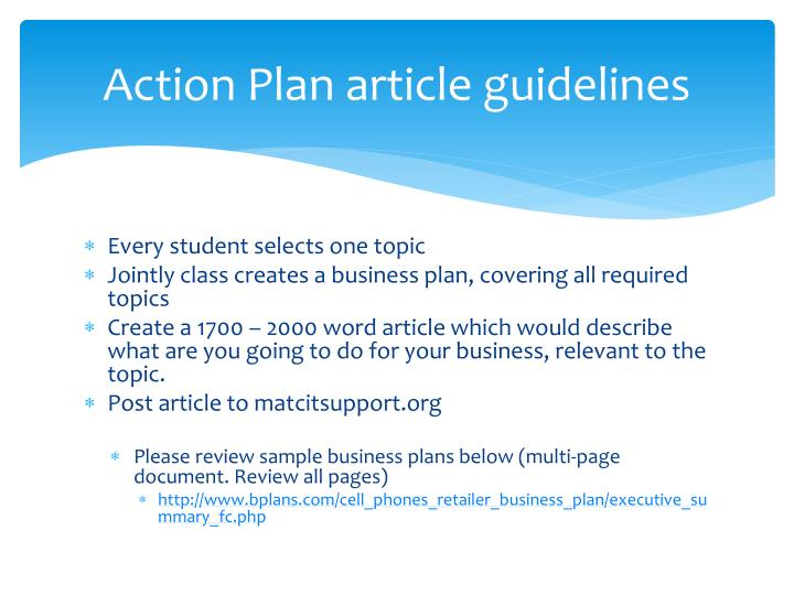 Action Plan article guidelines