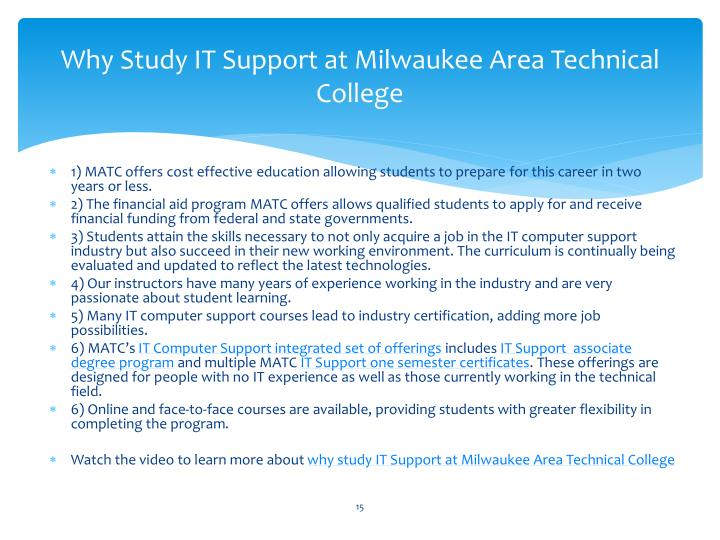 Why Study IT Support at Milwaukee Area Technical College