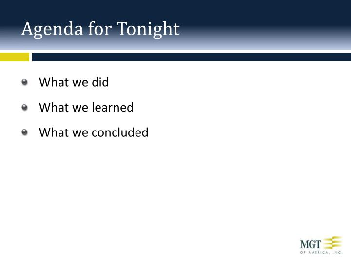 Agenda for tonight