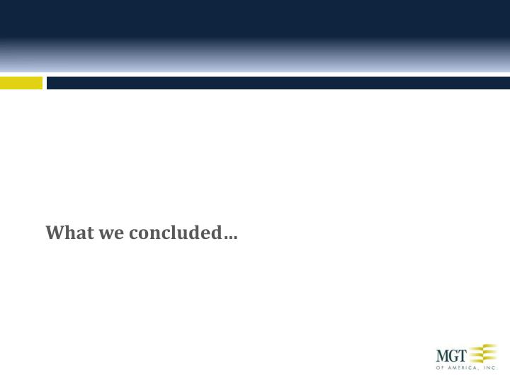 What we concluded…