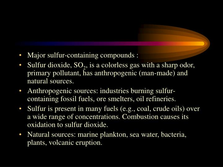 Major sulfur-containing compounds :