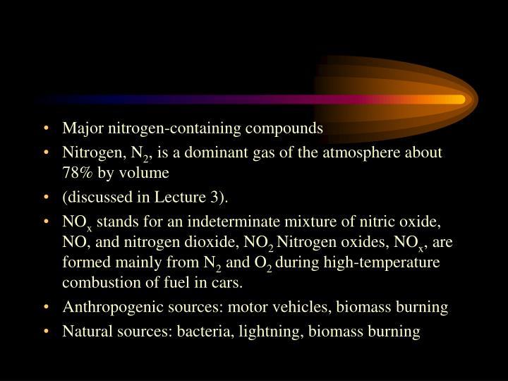 Major nitrogen-containing compounds