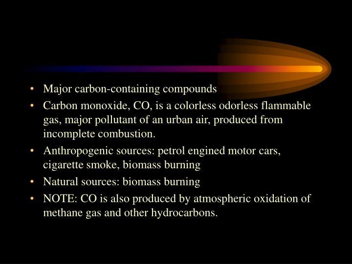 Major carbon-containing compounds