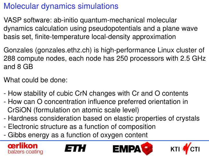 Molecular dynamics simulations