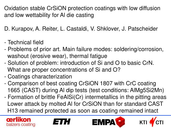 Oxidation stable CrSiON protection coatings with low diffusion