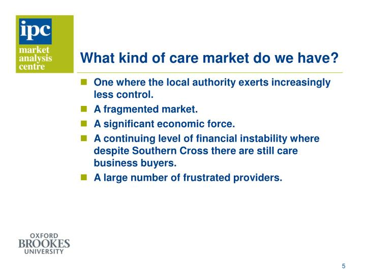 What kind of care market do we have