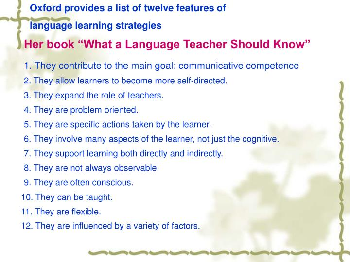 Oxford provides a list of twelve features of
