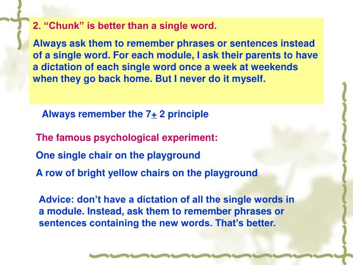 """2. """"Chunk"""" is better than a single word."""