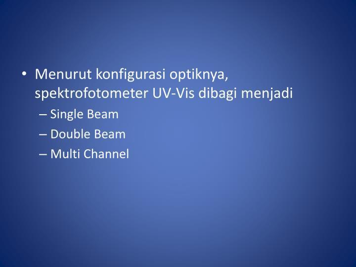 Menurut konfigurasi optiknya, spektrofotometer UV-Vis dibagi menjadi