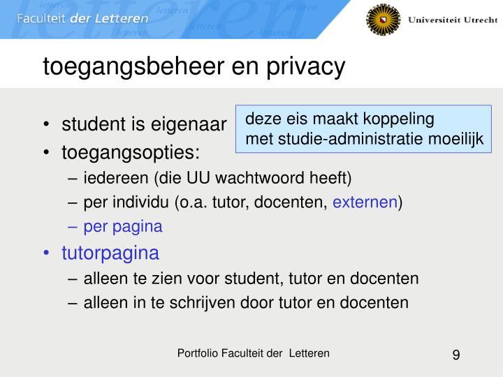toegangsbeheer en privacy
