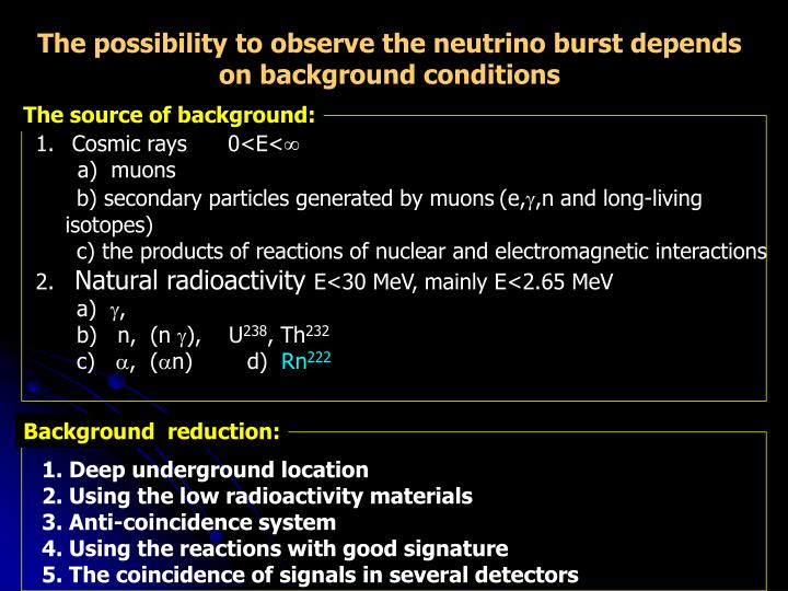 The possibility to observe the neutrino burst depends on background conditions