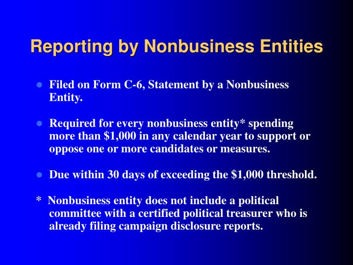Reporting by Nonbusiness Entities