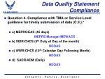 data quality statement compliance