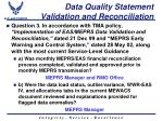 data quality statement validation and reconciliation
