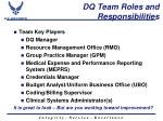 dq team roles and responsibilities