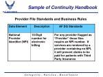 sample of continuity handbook