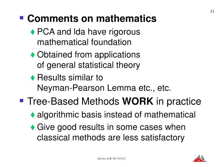 Comments on mathematics