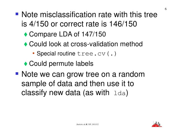 Note misclassification rate with this tree is 4/150 or correct rate is 146/150