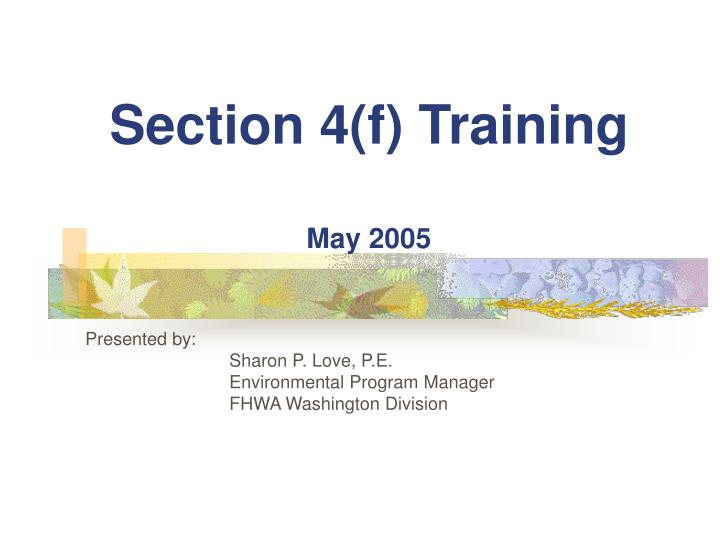 section 4 f training may 2005 n.