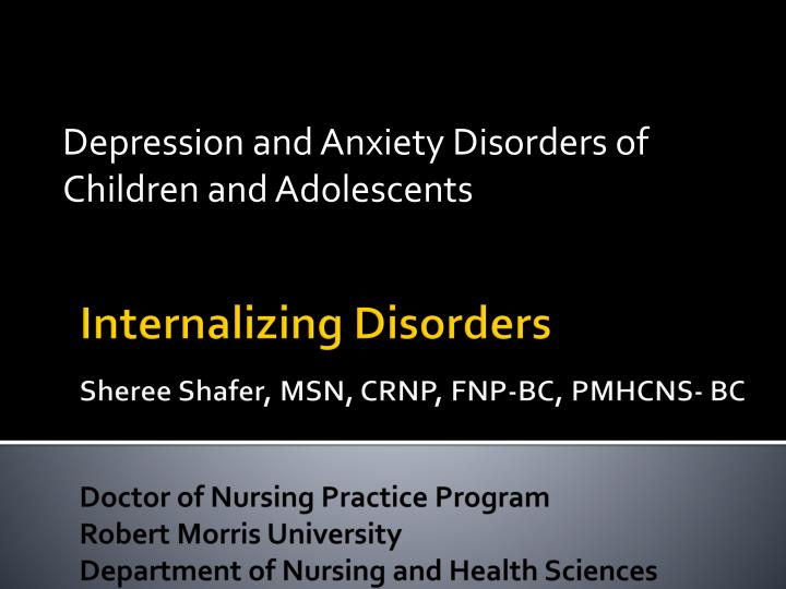 depression and anxiety disorders of children and adolescents n.