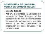 suspension de iva para venta de combustibles