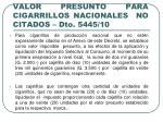 valor presunto para cigarrillos nacionales no citados dto 5445 10
