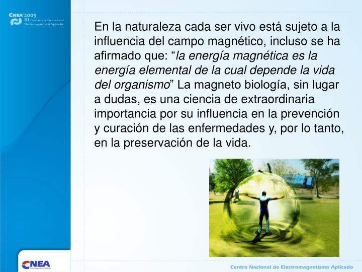 En la naturaleza cada ser vivo está sujeto a la influencia del campo magnético, incluso se ha afir...