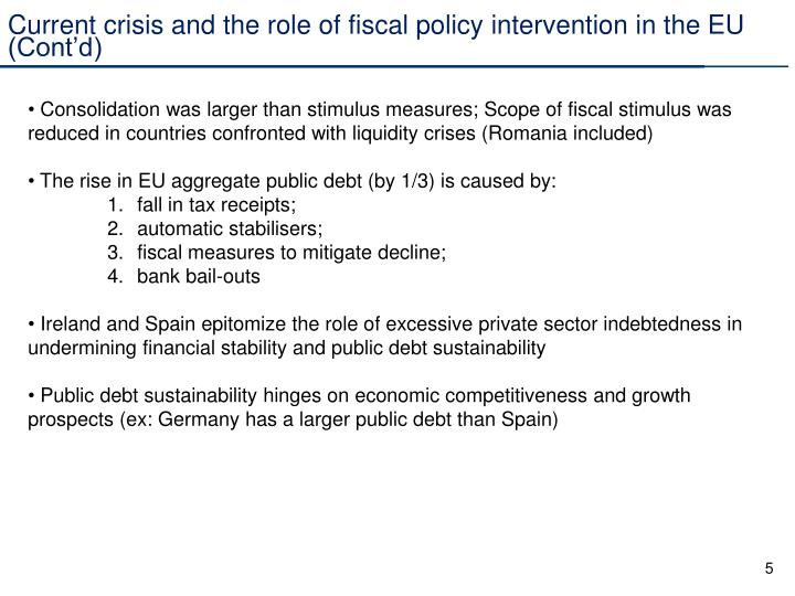 Current crisis and the role of fiscal policy intervention in the EU (Cont'd)