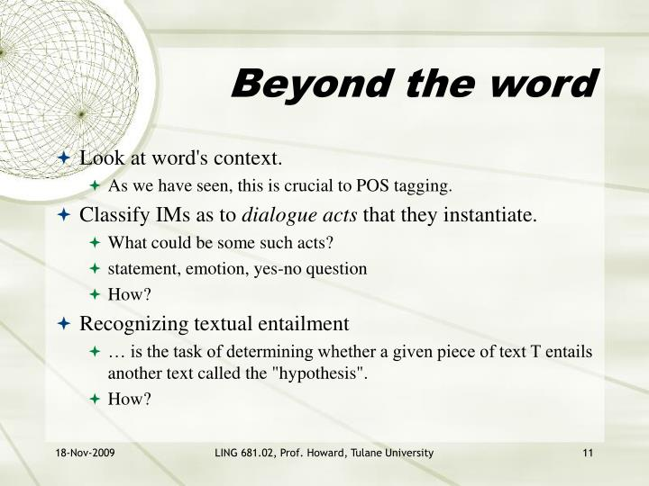 Beyond the word