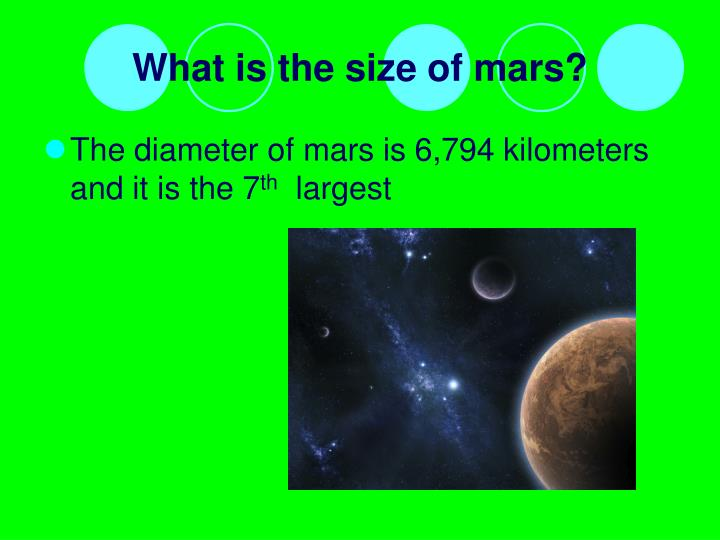 What is the size of mars?