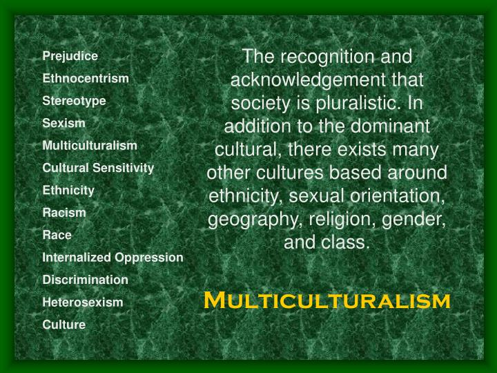 The recognition and acknowledgement that society is pluralistic. In addition to the dominant cultural, there exists many other cultures based around ethnicity, sexual orientation, geography, religion, gender, and class.