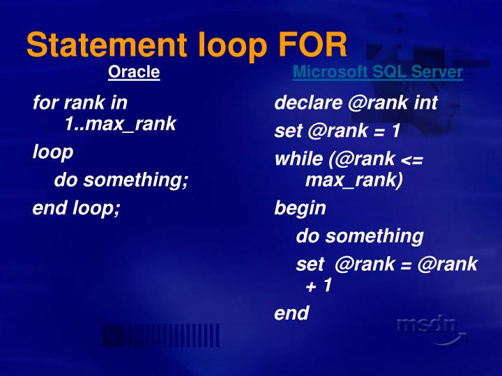 Statement loop FOR