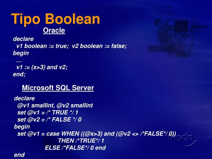 Tipo Boolean
