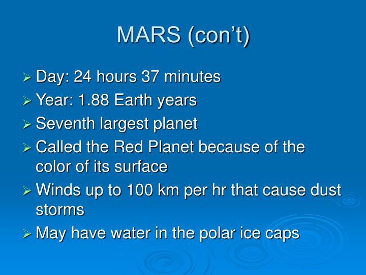 MARS (con't)