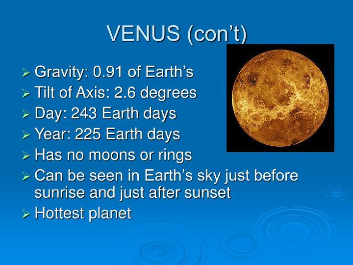 VENUS (con't)