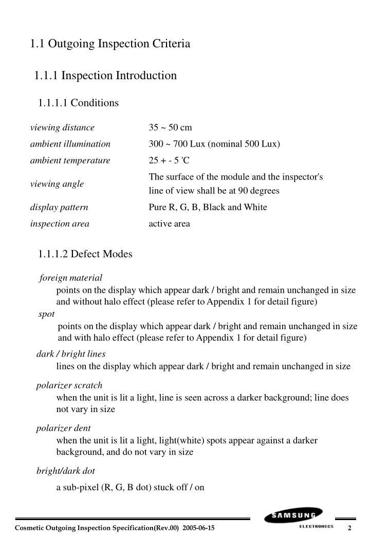 1.1 Outgoing Inspection Criteria