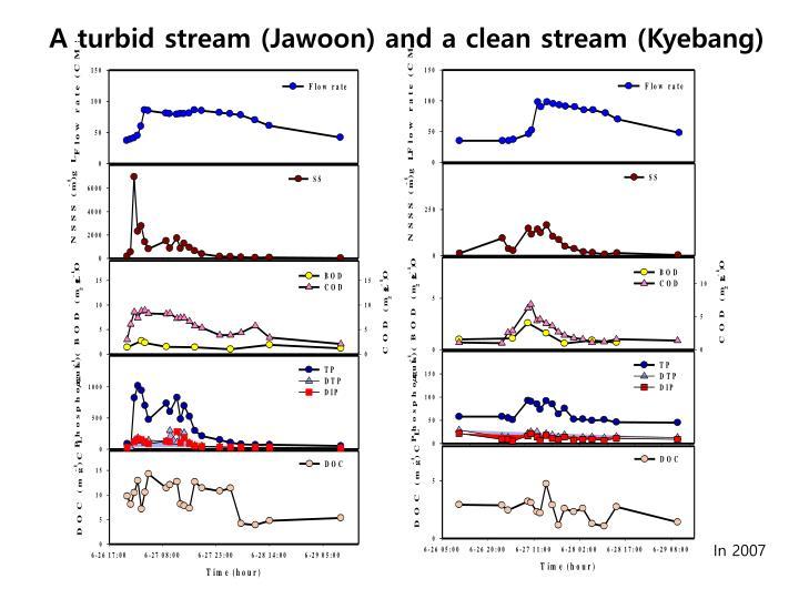 A turbid stream (Jawoon) and a clean stream (Kyebang)