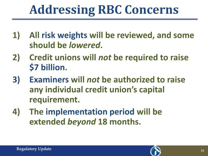 Addressing RBC Concerns