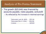 analysis of pro forma statement