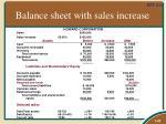 balance sheet with sales increase