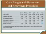 cash budget with borrowing and repayment provisions